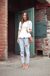song of style,t-shirt,jeans,shoes,bag,jewels,blogger,stella mccartney,ripped jeans,zara,zara shoes,chanel bag,streetstyle,blouse,jeans troué,pants,light wash jeans,ripped light jeans,white blouse,faded blue jeans,rips,holes,skinny jeans,top,peplum,midi sleeves,ripped,clothes,light blue jeans