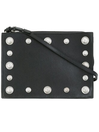 studded lion women bag shoulder bag black