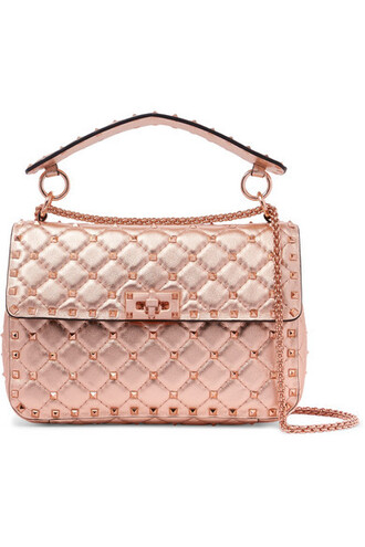 metallic quilted bag leather bag leather pink