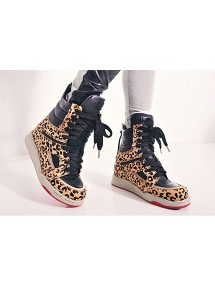 shoes leopard print high top sneaker