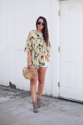 fashionably kay,blogger,top,shorts,shoes,bag,cult gaia bag,denim shorts,booties,summer outfits,pineapple print