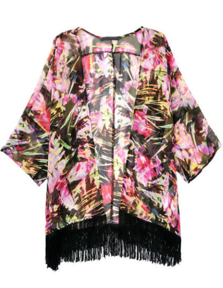boho pink black colorful kimono cardigan