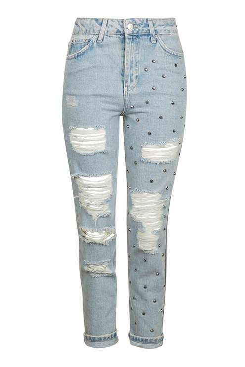 MOTO Studded Super Rip Mom Jeans