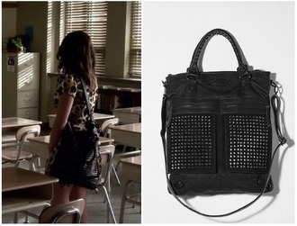 bag black studs cute aria lovely pretty little liars lucy hale