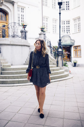 dress tumblr mini dress polka dots sandals slingbacks black shoes bag red bag belt sunglasses mirrored sunglasses shoes
