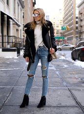jacket,acne studios,black jacket,leather jacket,black leather jacket,top,turtleneck,turtleneck sweater,denim,jeans,blue jeans,ripped jeans,boots,black boots,ankle boots,sunglasses,shearling jacket,shearling