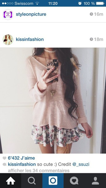 dress sweater skirt girly girl girly outfits tumblr iphone cover top
