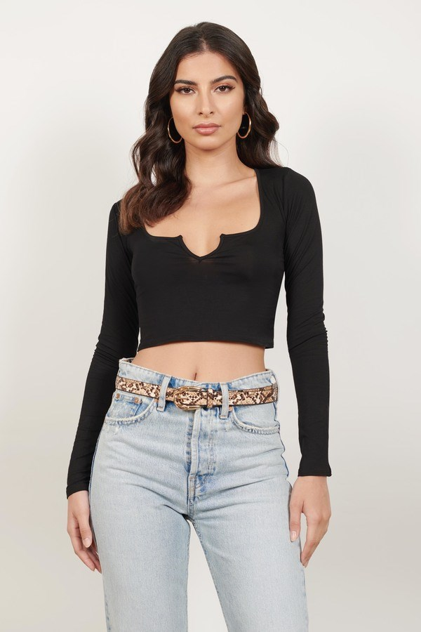 Bear With Me Black Long Sleeve Crop Top