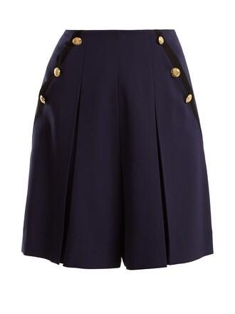 shorts high wool navy