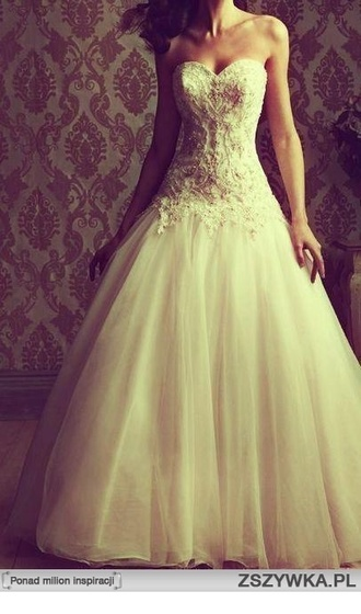 dress wedding dress princess wedding dress tulledress tulle we lace top wedding dress