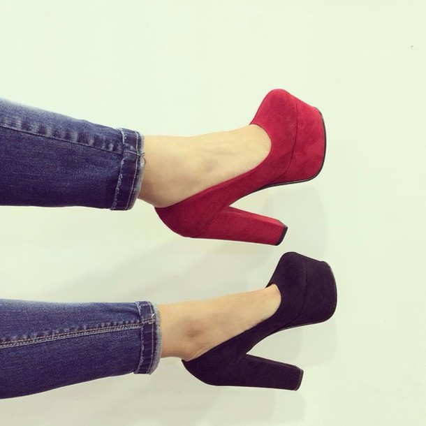 shoes black red shoes