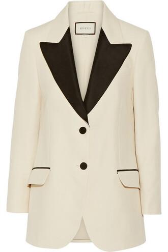 blazer silk wool cream jacket