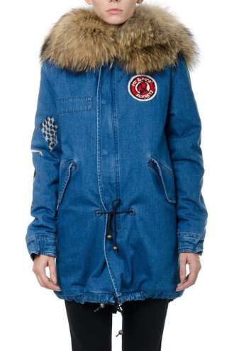 parka denim embroidered blue coat