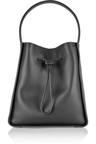 bag bucket bag leather charcoal