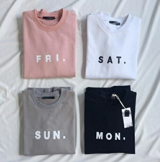 shirt pink white green black days of the week daily shirts monday tuesday wednesday thusday friday grey blue colorful cute