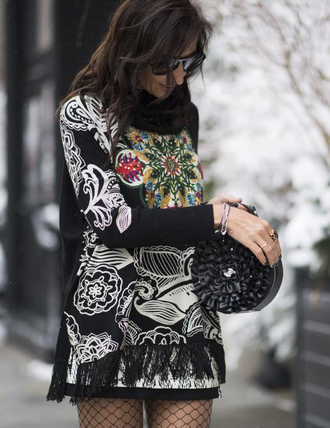 sweater nyfw 2017 fashion week 2017 fashion week streetstyle embroidered printed sweater bag ruffle round bag skirt mini skirt tights net tights fishnet tights