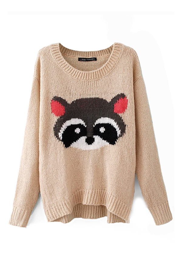 Beige Little Raccoon Knitted Sweater, Cheap fashion online store - FOYMALL