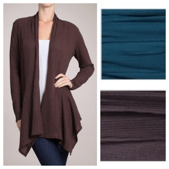 cardigan charcoal dark teal draped asymmetrical