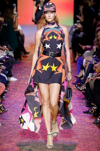 dress elie saab karlie kloss paris fashion week 2016 asymmetrical dress high-low dresses runway belt cap
