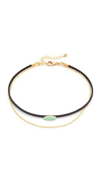 necklace choker necklace gold black turquoise jewels