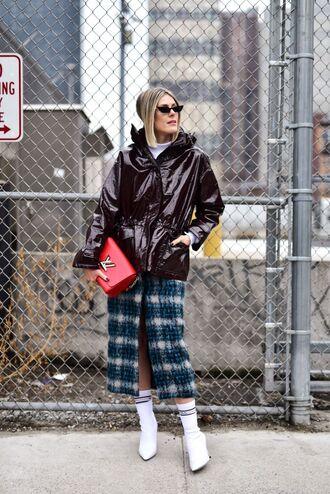 bag red bag skirt midi skirt plaid tartan tartan skirt boots white boots coat leather coat