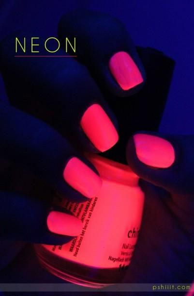 nail polish pink neon make-up neon nail polish glow in the dark hipster