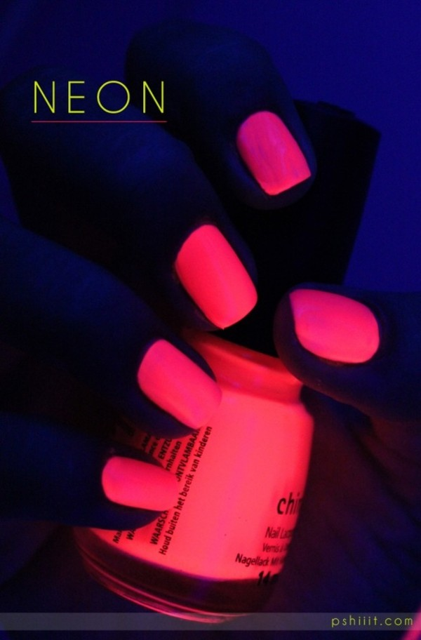 Nail Polish Pink Neon Make Up Nails Glow In The Dark Hipster Hot Home Accessory