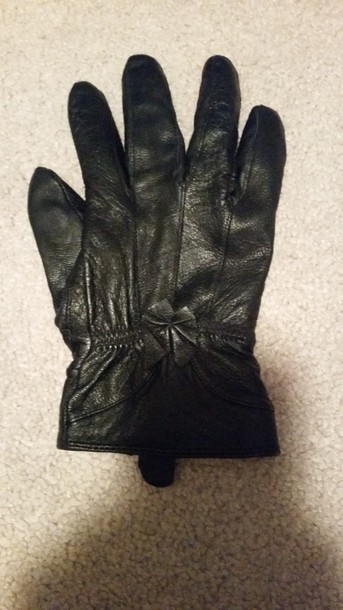 gloves black gloves black bow faux leather