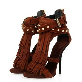 shoes africain high heels rivets rivet shoes rivet sandal heels stilettos brown leather nude nude high heels fringe shoes