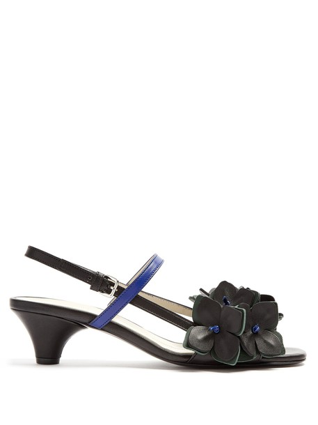MARNI embellished sandals leather sandals floral leather black shoes