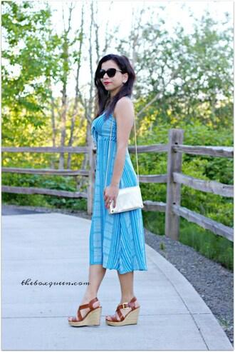 theboxqueen blogger dress blue dress midi dress summer outfits shoulder bag wedges wedge sandals sandals shoes bag