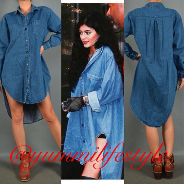 dress kylie jenner denim jacket denim shirt dope