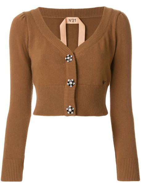 No21 cardigan cardigan cropped women embellished wool brown sweater