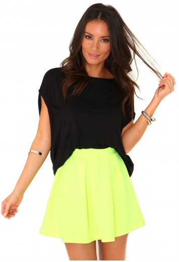 Tullisa neon pleated mini skirt