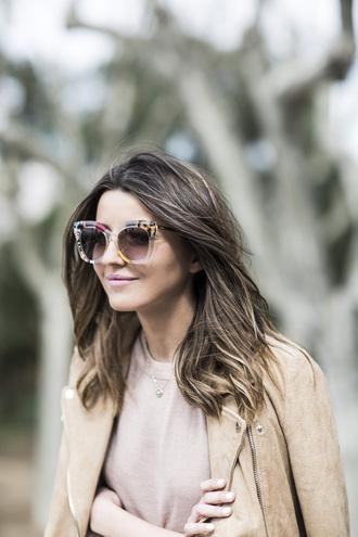 lovely pepa blogger suede jacket nude oversized sunglasses retro sunglasses