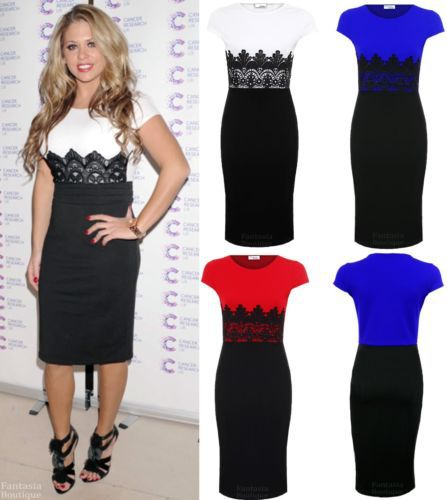 2014 New Ladies Celeb Cap Sleeve Lace Contrast Evening Pencil Women's Midi Bodycon Dress-in Dresses from Apparel & Accessories on Aliexpress.com