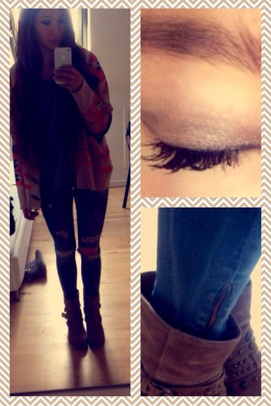 girly boots hipster color casual cardigan jeans make up lashes