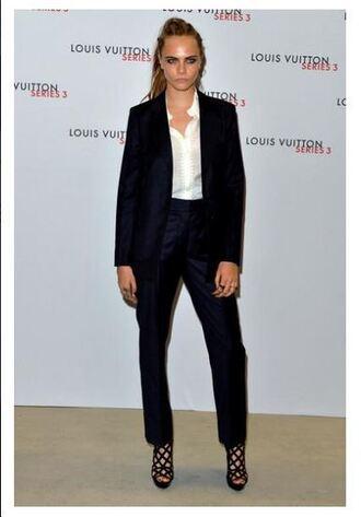 pants suit fashion week cara delevingne sandals blazer jacket shoes high heels