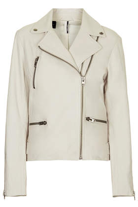 Soft Leather Double Zip Biker Jacket - Topshop USA