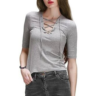 sweater grey lace up fashion style three-quarter sleeves casual trendy cool rose wholesale-ma