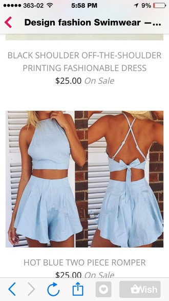 romper blue dress bow dress