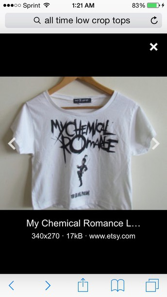 t-shirt black letters my chemical romance white