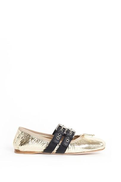 Miu Miu flats gold shoes