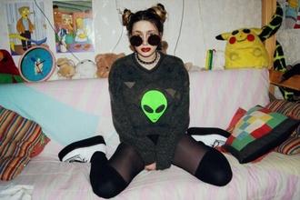 sweater vintage grunge alien jumper green
