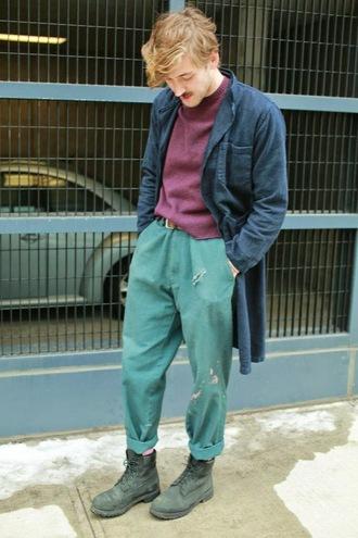 fashion goggled blogger mens sweater mens pants ripped menswear sweater pants belt socks shoes