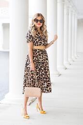 suburban faux-pas,blogger,dress,sunglasses,belt,bag,shoes,jewels,high heel pumps,yellow heels,chanel bag,leopard dress,animal print,summer outfits