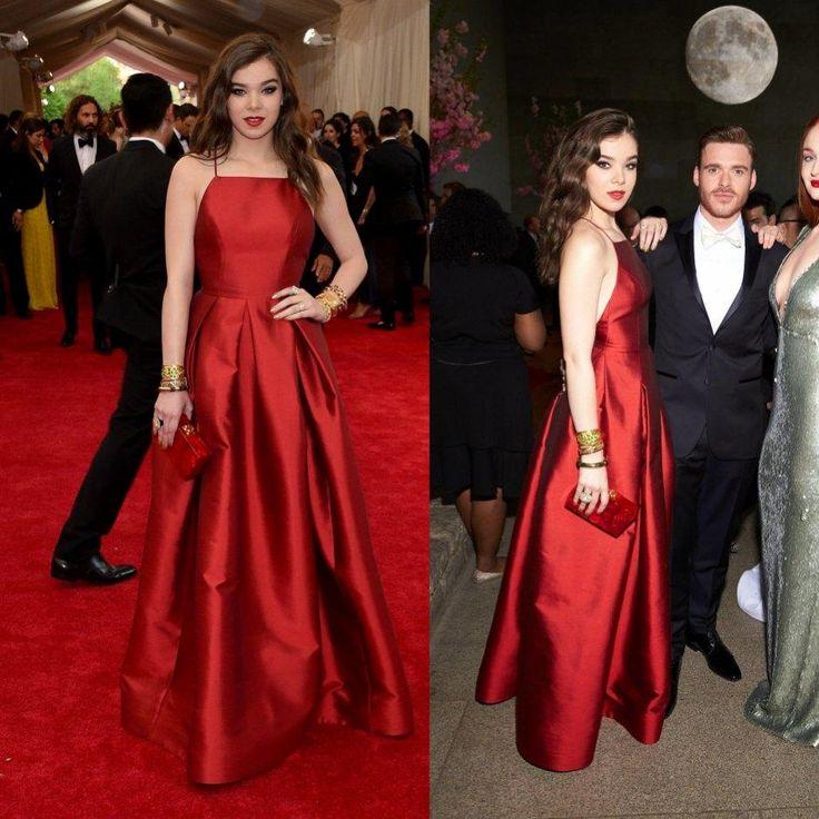 2015 Met Gala Red Evening Dresses Formal Long Hailee Steinfeld ...