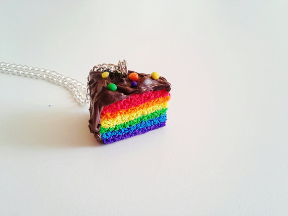 Scented Chocolate Rainbow Cake Necklace by kikums on Etsy