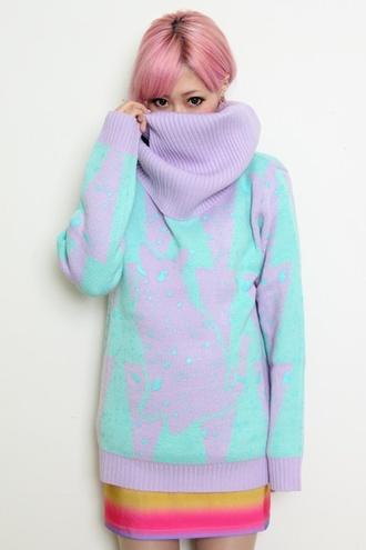 blue sweater sweater purple sweater pastel light blue pastel purple oversized sweater lilac sweater long sweater