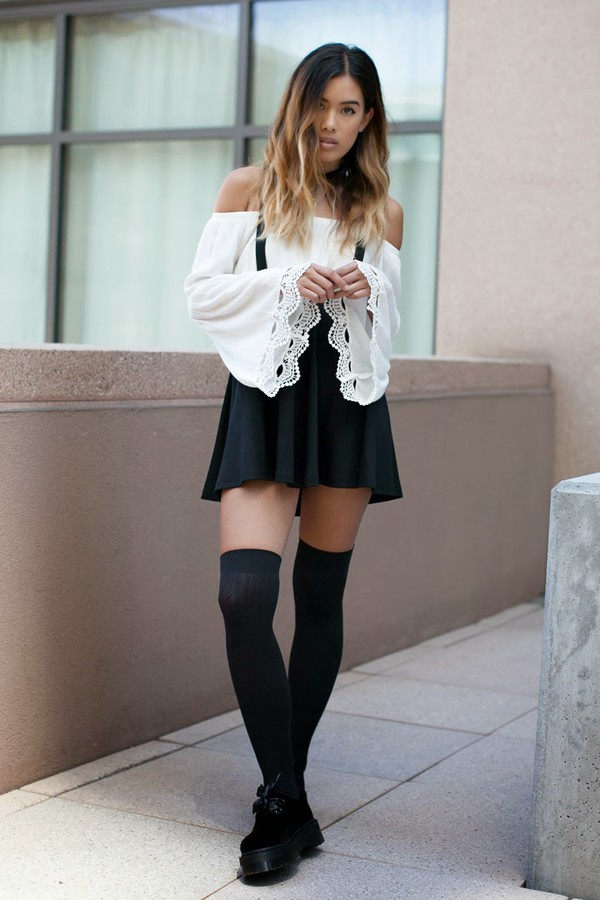 little black boots blogger skirt shoes